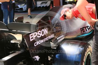 World © Octane Photographic Ltd. Formula 1 – Spanish GP. Thursday Setup. Sebastian Vettel checks out the Mercedes AMG Petronas Motorsport AMG F1 W10 EQ Power+. Circuit de Barcelona Catalunya, Spain. Thursday 9th May 2019.