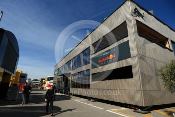 World © Octane Photographic Ltd. Formula 1 – Spanish GP. Thursday Setup. Aston Martin Red Bull Racing Holzhaus. Circuit de Barcelona Catalunya, Spain. Thursday 9th May 2019.