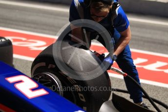 World © Octane Photographic Ltd. FIA Formula 2 (F2) – Spanish GP - Qualifying. Carlin - Nobuharu Matsushita pitstop practice. Circuit de Barcelona-Catalunya, Spain. Friday 10th May 2019.