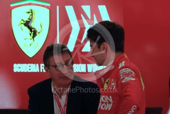 World © Octane Photographic Ltd. Formula 1 – Spanish GP. Practice 3. Scuderia Ferrari SF90 – Charles Leclerc and Louis Camilleri - CEO of Ferrari and former Chairman of Philip Morris International. Circuit de Barcelona Catalunya, Spain. Saturday 11th May 2019.