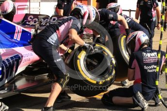 World © Octane Photographic Ltd. Formula 1 – Spanish GP. Paddock. SportPesa Racing Point RP19 pit stop practice. Circuit de Barcelona Catalunya, Spain. Saturday 11thth May 2019.