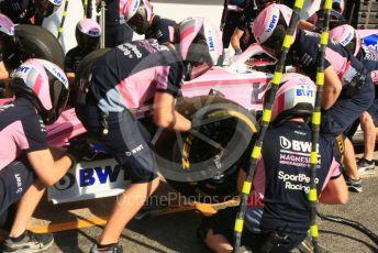 World © Octane Photographic Ltd. Formula 1 – Spanish GP. Paddock. SportPesa Racing Point pit  RP19stop practice. Circuit de Barcelona Catalunya, Spain. Saturday 11thth May 2019.