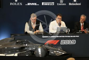 World © Octane Photographic Ltd. Formula 1 - 2021 Regulations Press Conference. Chase Carey - Chief Executive Officer of the Formula One Group, Nikolas Tombazis – FIA Head of Single-Seater Technical Matters and Ross Brawn – Managing Director of Formula 1 for Liberty Media. Circuit of the Americas (COTA), Austin, Texas, USA. Thursday 31st October 2019.