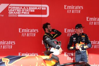 World © Octane Photographic Ltd. Formula 1 – United States GP - Parc Ferme. Aston Martin Red Bull Racing RB15 – Max Verstappen and Renault Sport F1 Team RS19 – Daniel Ricciardo. Circuit of the Americas (COTA), Austin, Texas, USA. Sunday 3rd November 2019.