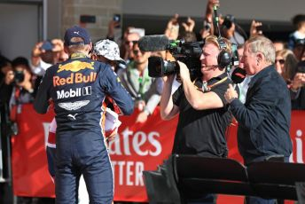 World © Octane Photographic Ltd. Formula 1 – United States GP - Parc Ferme. Aston Martin Red Bull Racing RB15 – Max Verstappen and  World Champion Lewis Hamilton. Circuit of the Americas (COTA), Austin, Texas, USA. Sunday 3rd November 2019.