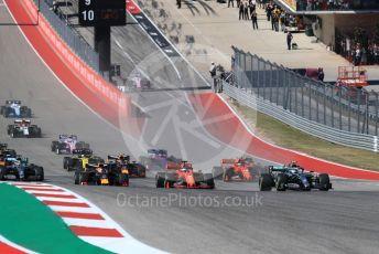 World © Octane Photographic Ltd. Formula 1 – United States GP - Race. Mercedes AMG Petronas Motorsport AMG F1 W10 EQ Power+ - Valtteri Bottas heads the pack ahead of the start. Circuit of the Americas (COTA), Austin, Texas, USA. Sunday 3rd November 2019.