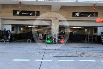 World © Octane Photographic Ltd. Formula 1 – United States GP - Pit Lane. Haas F1 Team VF19 – Kevin Magnussen and – Romain Grosjean. Circuit of the Americas (COTA), Austin, Texas, USA. Thursday 31st October 2019.