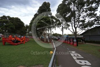 World © Octane Photographic Ltd. Formula 1 – F1 Australian Grand Prix breakdown. Marshals at the empty Melbourne Walk. Melbourne, Australia. Friday 13th March 2020.