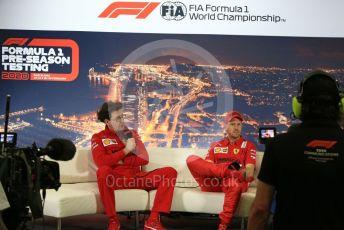 World © Octane Photographic Ltd. Formula 1 – F1 Pre-season Test 2 - Day 1 - Press Conference 2. Mattia Binotto – Team Principal of Scuderia Ferrari and Scuderia Ferrari – Sebastian Vettel. Circuit de Barcelona-Catalunya, Spain. Wednesday 26th February 2020.