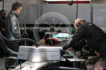 World © Octane Photographic Ltd. Formula 1 – F1 Pre-season Test 2 - Day 1.  James Allison - Technical Director watches Mercedes AMG Petronas F1 W11 EQ Performance - Lewis Hamilton. Circuit de Barcelona-Catalunya, Spain. Wednesday 26th February 2020.