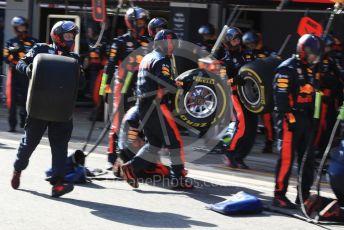 World © Octane Photographic Ltd. Formula 1 – F1 Pre-season Test 2 - Day 2. Aston Martin Red Bull Racing RB16 – Alexander Albon pit stop practice. Circuit de Barcelona-Catalunya, Spain. Thursday 27th February 2020.