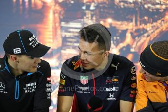 World © Octane Photographic Ltd. Formula 1 – F1 Pre-season Test 1 - Day 1. FIA Press Conference. Aston Martin Red Bull Racing – Alexander Albon, ROKiT Williams Racing – George Russell and McLaren – Lando Norris. Circuit de Barcelona-Catalunya, Spain. Wednesday 19th February 2020.
