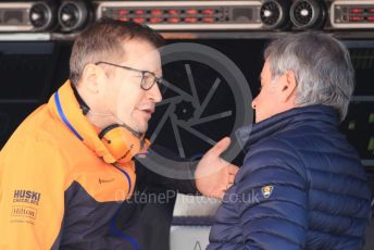 World © Octane Photographic Ltd. Formula 1 – F1 Pre-season Test 1 - Day 1. Andreas Seidl, Team Principle at McLaren and Carlos Sainz Snr. Circuit de Barcelona-Catalunya, Spain. Wednesday 19th February 2020.