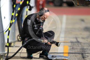 World © Octane Photographic Ltd. Formula 1 – F1 Pre-season Test 1 - Day 2. Mechanic with wheel guns - AMG Petronas Motorsport. Circuit de Barcelona-Catalunya, Spain. Thursday 20th February 2020.