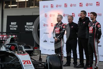 World © Octane Photographic Ltd. Formula 1 – F1 Pre-season Test 1 - Day 1. Haas F1 Team VF20 car launch – Kevin Magnussen and Romain Grosjean with Gene Haas - Founder and Chairman of Haas F1 Team and Guenther Steiner - Team Principal. Circuit de Barcelona-Catalunya, Spain. Wednesday 19th February 2020.