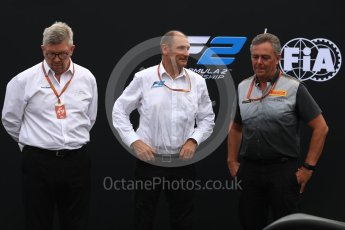 World © Octane Photographic Ltd. Formula 1 - Italian Grand Prix – FIA Formula 2 2018 Car Launch - Ross Brawn, Charlie Whiting and Mario Isola. Monza, Italy. Thursday 31st August 2017. Digital Ref: 1936LB1D0431