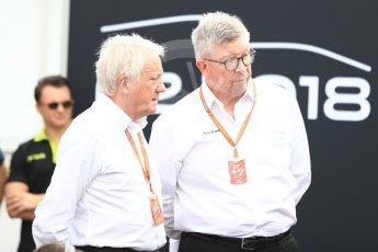 World © Octane Photographic Ltd. Formula 1 - Italian Grand Prix – FIA Formula 2 2018 Car Launch - Ross Brawn and Charlie Whiting. Monza, Italy. Thursday 31st August 2017. Digital Ref: 1936LB1D0477