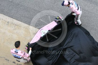 World © Octane Photographic Ltd. Formula 1 – Winter Test 1. Sahara Force India VJM11 Launch with Esteban Ocon and Sergio Perez. Circuit de Barcelona-Catalunya, Spain. Monday 26th February 2018.