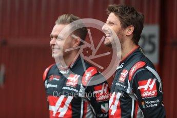 World © Octane Photographic Ltd. Formula 1 winter test 1, Haas F1 Team VF-17 physical unveil - Romain Grosjean and Kevin Magnussen, Circuit de Barcelona-Catalunya. Monday 27th February 2017. Digital Ref : 17779LB1D8121