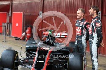 World © Octane Photographic Ltd. Formula 1 winter test 1, Haas F1 Team VF-17 physical unveil - Romain Grosjean and Kevin Magnussen, Circuit de Barcelona-Catalunya. Monday 27th February 2017. Digital Ref : 17779LB1D8131