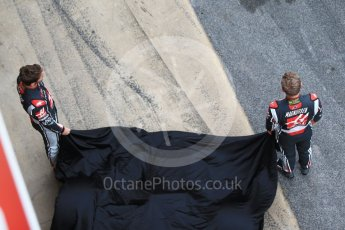 World © Octane Photographic Ltd. Formula 1 winter test 1, Haas F1 Team VF-17 physical unveil l - Romain Grosjean and Kevin Magnussen, Circuit de Barcelona-Catalunya. Monday 27th February 2017. Digital Ref :