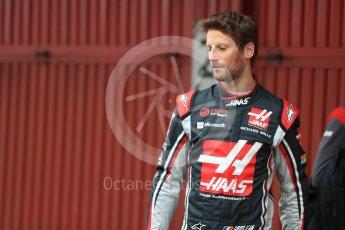 World © Octane Photographic Ltd. Formula 1 winter test 1, Haas F1 Team VF-17 physical unveil - Romain Grosjean, Circuit de Barcelona-Catalunya. Monday 27th February 2017. Digital Ref : 1779LB1D8106