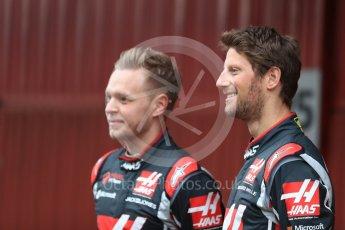 World © Octane Photographic Ltd. Formula 1 winter test 1, Haas F1 Team VF-17 physical unveil - Romain Grosjean and Kevin Magnussen, Circuit de Barcelona-Catalunya. Monday 27th February 2017. Digital Ref : 1779LB1D8139