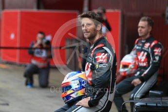 World © Octane Photographic Ltd. Formula 1 winter test 1, Haas F1 Team VF-17 physical unveil - Romain Grosjean, Circuit de Barcelona-Catalunya. Monday 27th February 2017. Digital Ref : 1779LB1D8181