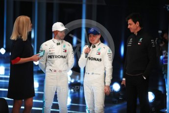 World © Octane Photographic Ltd. Formula 1 –. Mercedes AMG Petronas Motorsport AMG F1 W09 EQ Power+ launch, Lewis Hamilton, Valtteri Bottas and Toto Wolff (Team Principal and CEO) – Silverstone, UK. Thursday 22nd February 2018. Digital Ref :2020LB1D8099