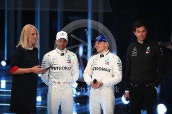 World © Octane Photographic Ltd. Formula 1 –. Mercedes AMG Petronas Motorsport AMG F1 W09 EQ Power+ launch, Lewis Hamilton, Valtteri Bottas and Toto Wolff (Team Principal and CEO) – Silverstone, UK. Thursday 22nd February 2018. Digital Ref :2020LB1D8104