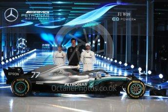 World © Octane Photographic Ltd. Formula 1 –. Mercedes AMG Petronas Motorsport AMG F1 W09 EQ Power+ launch, Lewis Hamilton, Valtteri Bottas and Toto Wolff (Team Principal and CEO) – Silverstone, UK. Thursday 22nd February 2018. Digital Ref :2020LB1D8215