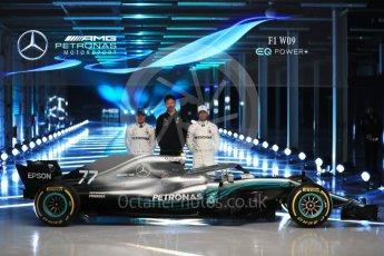 World © Octane Photographic Ltd. Formula 1 –. Mercedes AMG Petronas Motorsport AMG F1 W09 EQ Power+ launch, Lewis Hamilton, Valtteri Bottas and Toto Wolff (Team Principal and CEO) – Silverstone, UK. Thursday 22nd February 2018. Digital Ref :2020LB1D8217