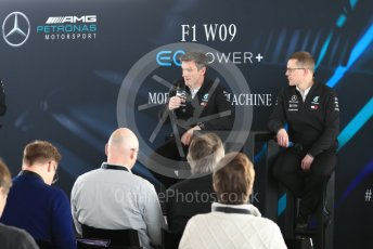World © Octane Photographic Ltd. Formula 1 –. Mercedes AMG Petronas Motorsport AMG F1 W09 EQ Power+ launch, James Allison (Technical Director) and Andy Cowell (Managing Director of Mercedes AMG High Performance Powertrains) – Silverstone, UK. Thursday 22nd February 2018. Digital Ref : 2020LB1D8275