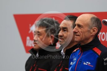 World © Octane Photographic Ltd. Formula 1 – Winter Test 1. Scuderia Toro Rosso STR13 Car Launch with Franz Tost and Honda representatives. Circuit de Barcelona-Catalunya, Spain. Monday 26th February 2018.