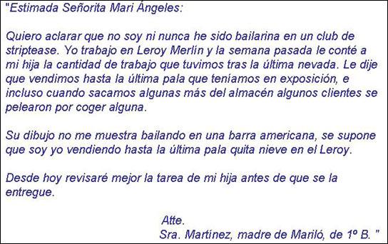 La carta que tuvo que redactar la madre de Mariló al recibir la pertinente llamada de atención de la profe de la niña.