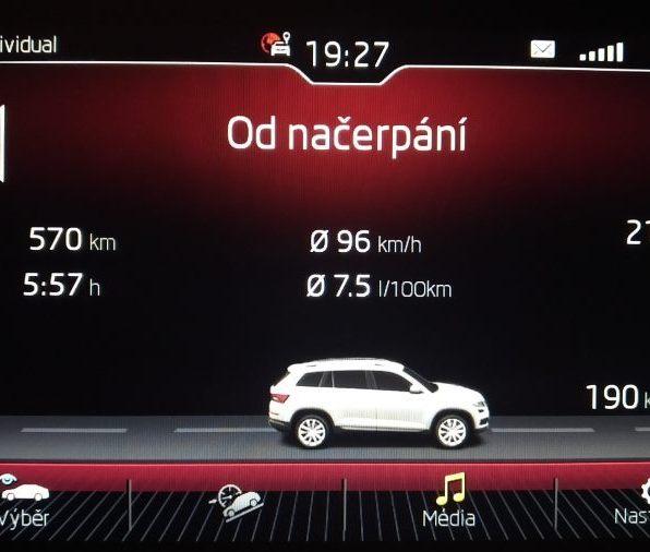 Palubní deska Kodiaq RS dojezd od načerpání