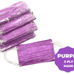 Disposable Protective 3Ply Face Mask 50ct Box – Purple