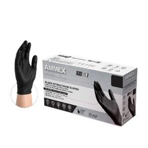 AMMEX Medical Black Nitrile Gloves Case of 5