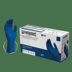 Gloveworks Medical Blue Latex Gloves Case of 5
