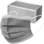 Gray Disposable Protective 3Ply Face Mask Covering 50ct Box