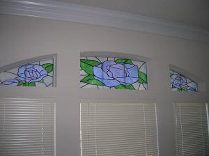 Jackie's Glassworks blue rose window panes