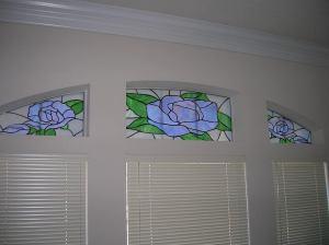 Jackie's Glassworks blue rose window panes