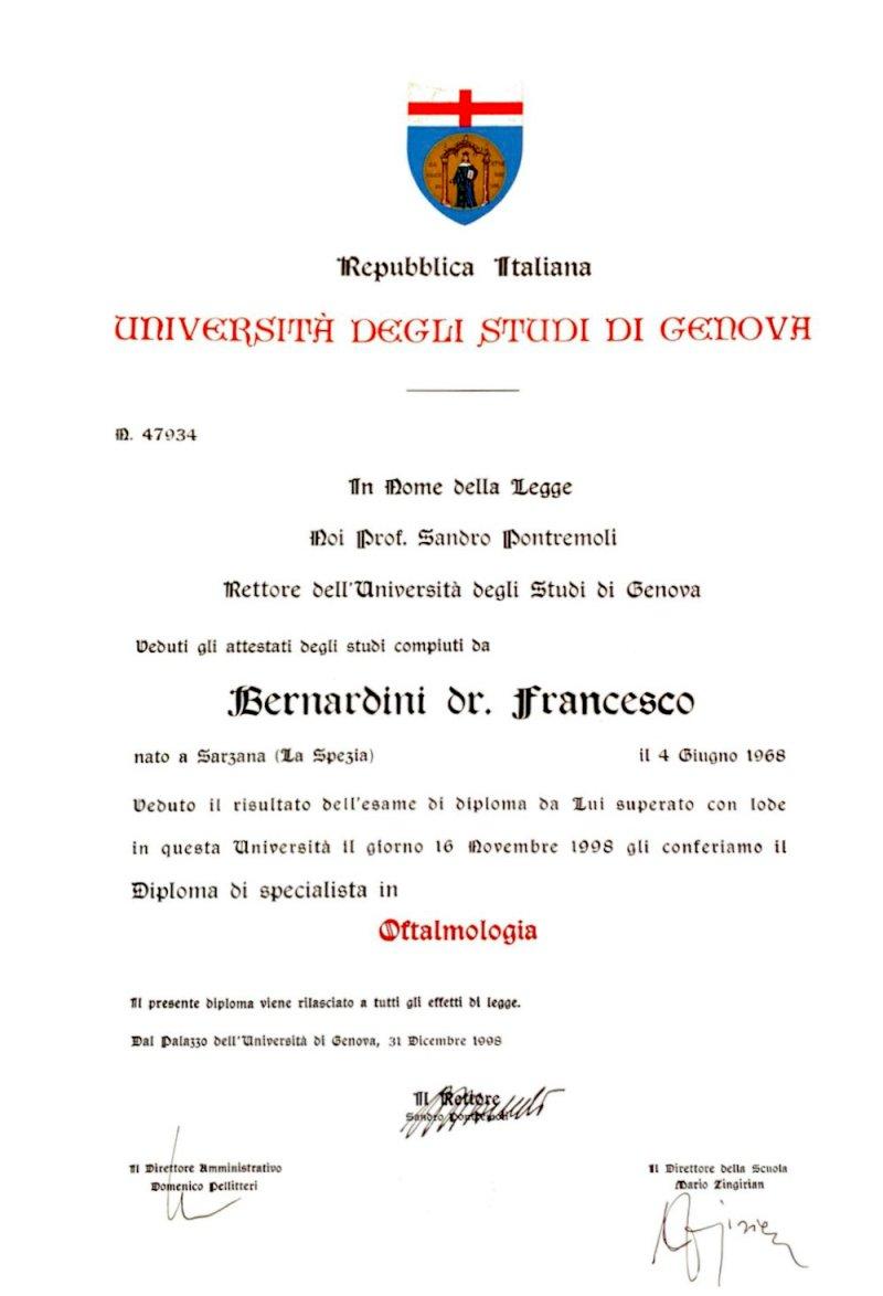 DIPLOMA DI SPECIALISTA IN OFTALMOLOGIA 1998