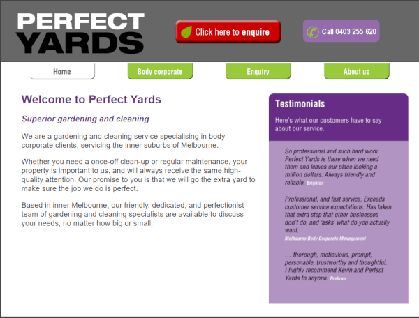 Perfect Yards website