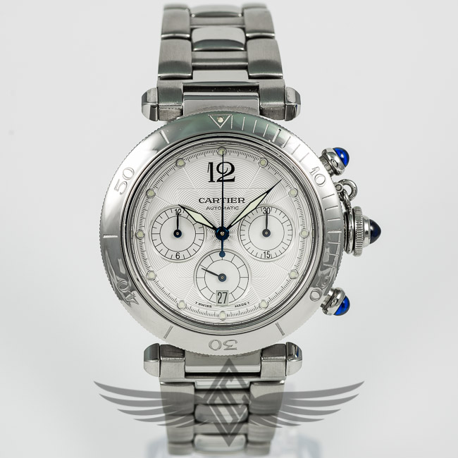 Cartier Pasha Chronograph Silver Dial Blue Sapphire Pushers and     Cartier Pasha Chronograph Silver Dial Blue Sapphire Pushers and Crown  Automatic Watch W31030H3