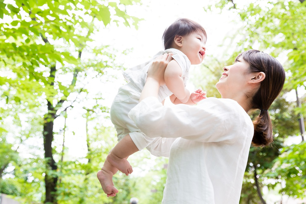 portrait of asian mother and baby