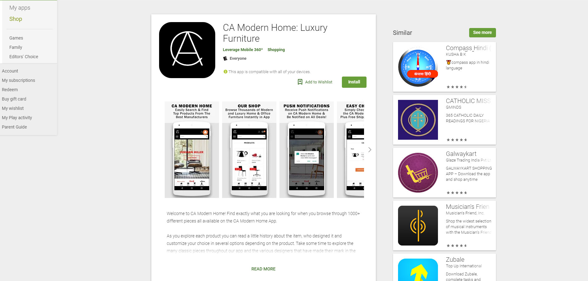 CA Modern Home Android Mobile Application