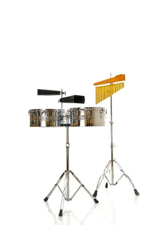 8791010 - two cowbells and timbales on white background