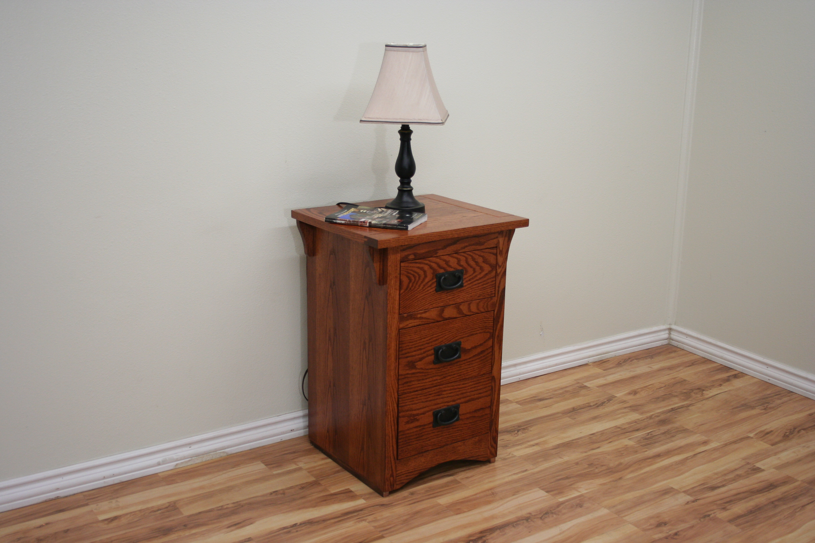 O M448 Mission Oak Three Drawer Night Stand Odc Products