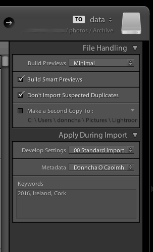 Lightroom Import Dialog